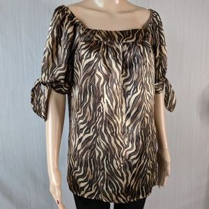 Animal print satin blouse